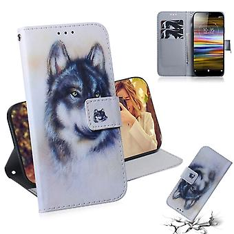White Wolf Pattern Coloured Drawing Horizontal Flip Leather Case for Sony Xperia L3, with Holder & Card Slots & Wallet