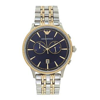 Armani Ar1847 Blue & Two Tone Stainless Steel Chronograph Mens Watch