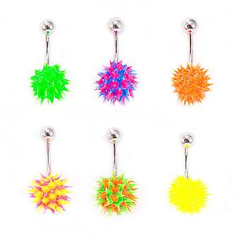 Belly button ring navel piercing with spike silicone ball