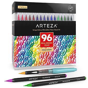 Stylos à pinceau Arteza, 96 marqueurs de peinture avec pointes de pinceau flexibles, stylos aquarelle professionnels pour