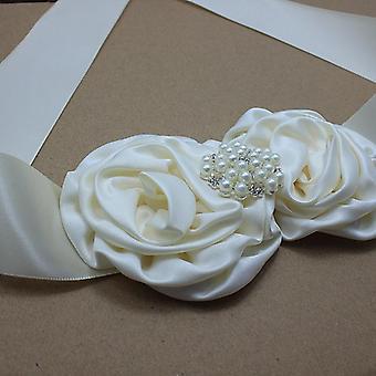Ελεφαντόδοντο σατέν τριαντάφυλλο λουλούδι ζώνη headband με μαργαριτάρι γάμο νυφική ροζέτα ζώνη