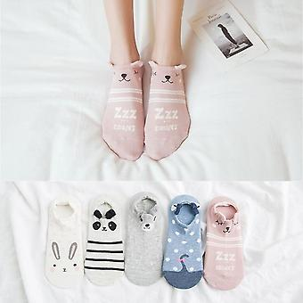Women Cartoon Animal, Bear, Mouse Cute Invisible Cotton Ankle Socks