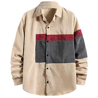 Yunyun Men's Stitching Long Sleeve Corduroy Casual Regular-fit Button Down Shirt