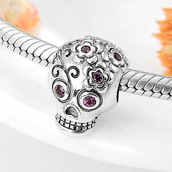 Fashion 925 Sterling Silver Halloween Skull Flower Pink Charms Bracelets