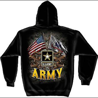 US Army Double Flags Black Hoodie