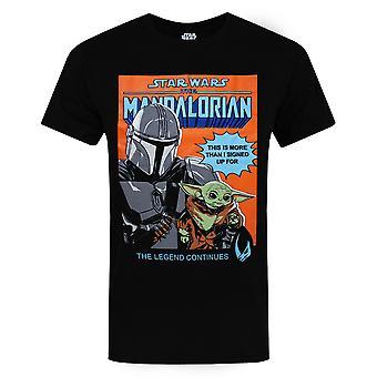 Star Wars Mandalorian T-paita miehille | Aikuiset Vauva Yoda Lahja | Musta Lyhythihainen T-paita