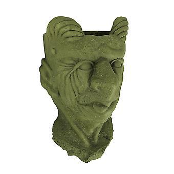 Designer Stone Mossy Green Gargoyle Head Concrete Wall Mounted Planter