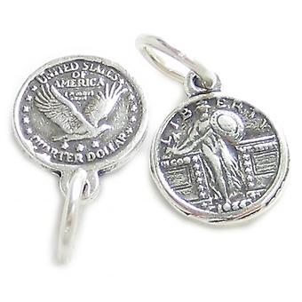 Standing Liberty Quarter Tiny Sterlng Silver Charm .925 X1 Kvartal Mynt - 4223