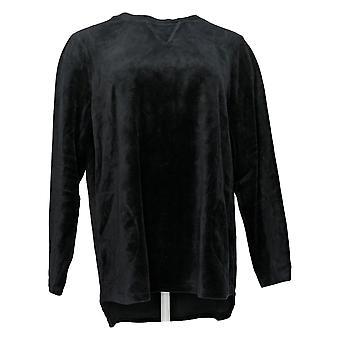 Denim & Co. Damen's Sweatshirt Aktive regelmäßige Velour Tunika schwarz A26006