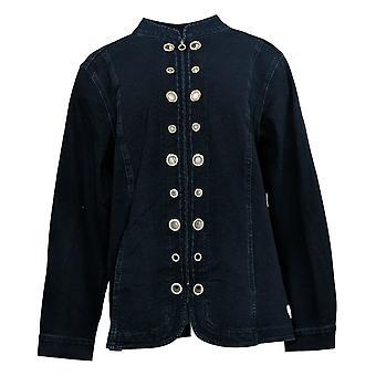 Quacker Factory Women's Dream Jeannes Glam Grommet Jacket Blue A287297