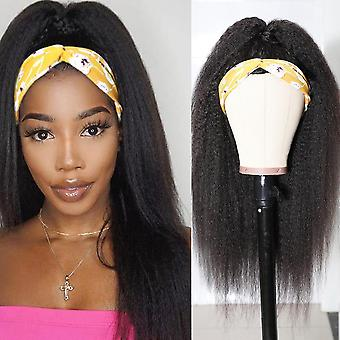 Eșarfă Wig Kinky Straight Human Hair Peruci Headband Peruca
