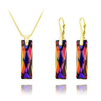 24K الذهب الملكة baguette بركان قلادة الفضة قلادة قلادة مجموعة المجوهرات