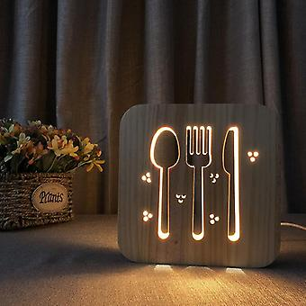 Led wooden carving night light usb power tableware pattern t1870w