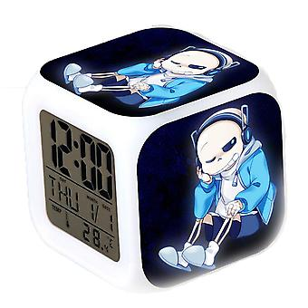 Undertale Sans Digital Thermometer Glowing Cube Alarm Clock Color Changing Led