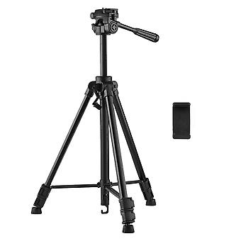 Adjustable height tripod stand 3-way hydraumatic head universal 1/4 mounting