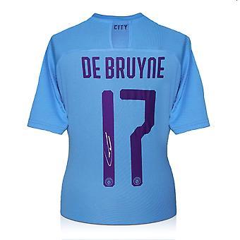 Kevin De Bruyne a signé le maillot de Manchester City 2019-20 (imprimé européen)