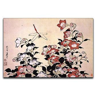 Flor de campana china y lienzo de mosca dragón