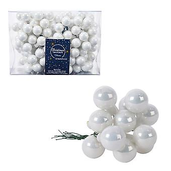 12 2cm Winter White Glass Berry Picks for Christmas Floristry Crafts