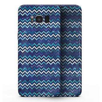 Blue Multi Watercolor Chevron - Samsung Galaxy S8 Full-body Skin Kit