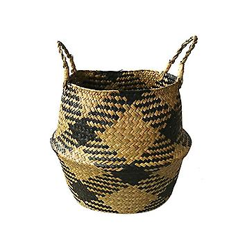 Checkered Straw Bag Storage Basket Household Goods Foreign Trade Practical Handle Woven Basket
