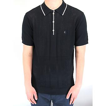 Bronson Navy Weave Knitted Polo Shirt