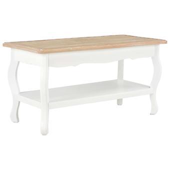 vidaXL طاولة القهوة الأبيض والبني 87.5 × 42 × 44 سم خشب الصنوبر الصلب