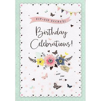 ICG Ltd Open Birthday Card Palladium Range - Flowers