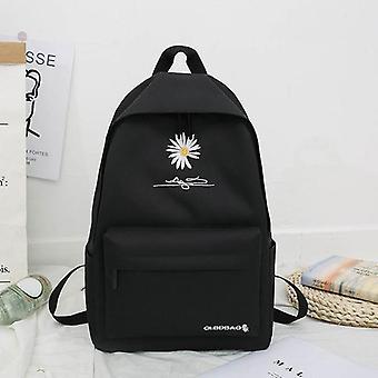 Nowy solidny plecak dziewczyna szkoła torby dla nastolatka szkoła torba nylon daisy drukowanie torba czarny