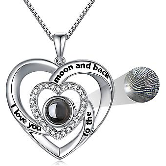 FengChun 925 Sterling Silber Ich Liebe Dich Halskette 100 Sprachen Liebe Erinnerung Projektion