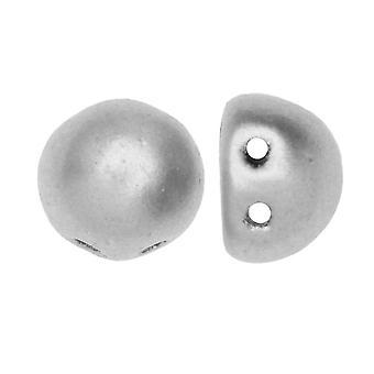 CzechMates Glass, 2-Hole Round Cabochon Beads 7mm Diameter, 25 Pieces, Matte Metallic Silver