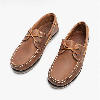 Chatham Whitstable Mens Leather Boat Shoes Tan