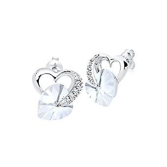 Elli Women's Pearl Earrings in Silver 925 with White Swarovski Crystal, Heart Cut