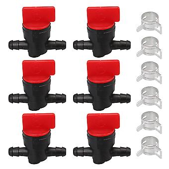 6 x Inline Gas Fuel Shut Off Valve w/ Clamps Replaces 698183MA 1/4inch