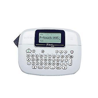 Fabricante de etiquetas Brother PT-M95, impresora de etiquetas P-Touch, dispositivo de mano, teclado QWERTY, etiquetas de hasta 12 mm, incluye casete de cinta negra sobre blanca de 12 mm