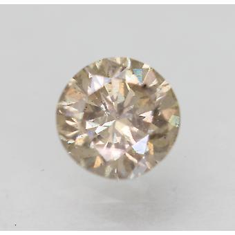 Cert 0.53 Carat Light Brown VS2 Round Brilliant Enhanced Natural Diamond 5.25mm