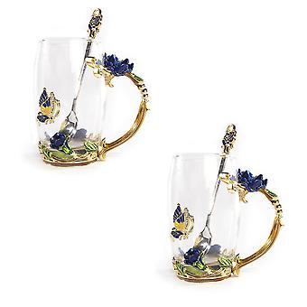 Tazas de vidrio de flor de esmalte - Juego de 2 | M&W 350ml Azul