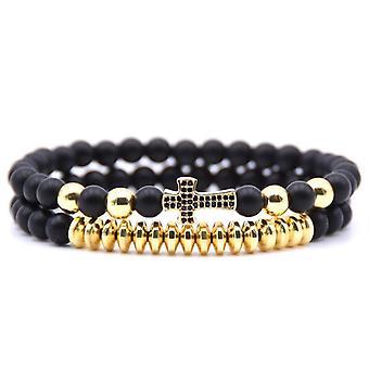 Double bracelet avec balles en pierre et or / argent et croix unisexe en or