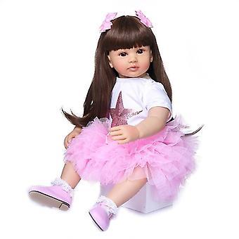 60cm baby meisje pop zachte siliconen doek lichaam levensechte bebe pop herboren boneca herboren peuter meisje pop met de hand gemaakt
