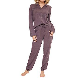 LingaDore 6713-296 Naisten viinintäyteinen marl pyjama setti