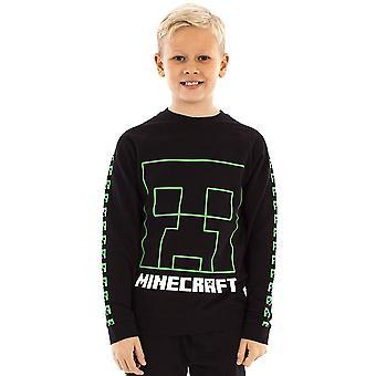 Minecraft Gutter Creeper Ansikt Sweatshirt