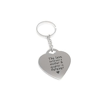 Love Between Mother and Daughter Forever Heart Shaped Key Chain Gift for Mom