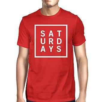 السبت الرجل القميص الأحمر لطيف قصيرة الأكمام المحملة القميص مضحك