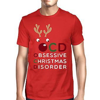 OCD 強迫クリスマス障害赤メンズ t シャツかわいいクリスマス プレゼント