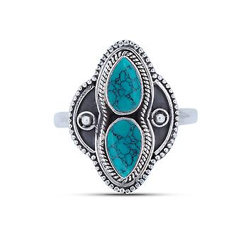 Ring Zilver 925 Sterling Zilver Turquoise Blue Green Stone (Nr: MRI 144)