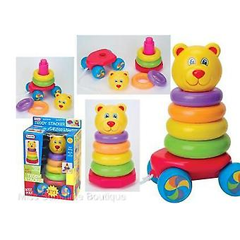 Funtime Pull Along Teddy Stacker Stacking  Baby Toddler Learning Toy 9+ months