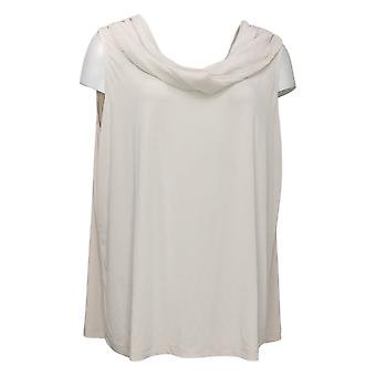 Susan Graver Women's Plus Top Liquid Knit Two-Way Cowl Brown A378541