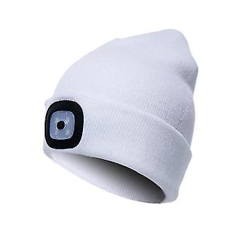 Led Beanie Hat مع الضوء، 3 سطوع الشتاء الدافئ بيني قبعة (أبيض)