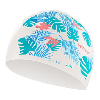 Leaf Print Wave Swimming Cap