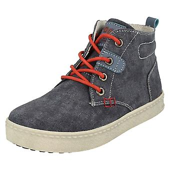 Boys Spot On Denim Lace Up Boots N2037