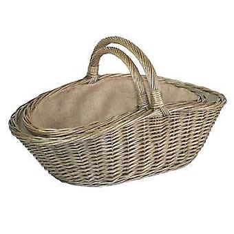 Set of 2 Antique Wash Harvesting Trug Baskets